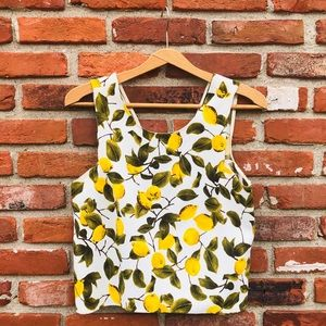 46fb8624 Zara Tops | Basic Lemon Print Boxy Crop Top | Poshmark
